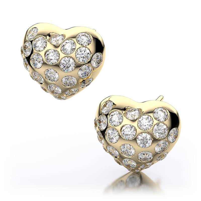 Win a 14k Yellow Gold and Diamond Heart Shaped Stud Earrings Diamonds